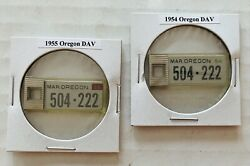 Two Oregon 1955 And 1954 Veterans Dav License Plate Key Chain Tags.