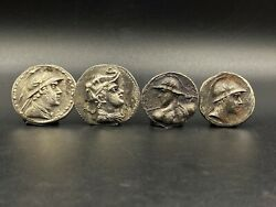 Lot Of Silver Old Ancient Antique Indo Greek Greco Bactrian Silver Coins