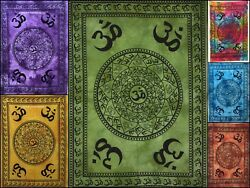 Om Chakra Design Cotton Fabric Small Tapestry Wall Hanging Poster Wonderful