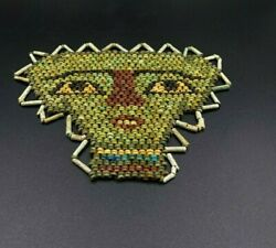 Old Antique Glass Mosaic Beads Mask Face Figure From Ancient Romans Time Egypt