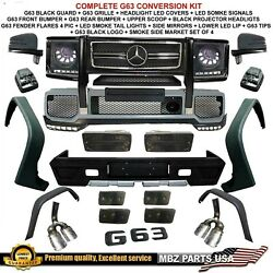 G63 Full Conversion Body Kit Bumpers Flares Tips Tail Lights Led Black Smoke New