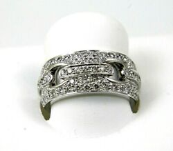 Natural Round Diamond Curve Cluster Wide Ladyand039s Ring Band 18k White Gold .93ct
