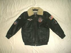 Wilson's Leather Boys Bomber Jacket Sherpa Collar, Flight Patches, Airplane Pull