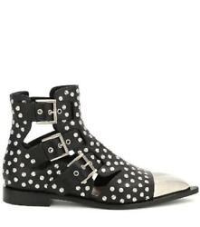 Alexander Mcqueen 10mm Studded Leather Boots W/ Cut Outs - Black
