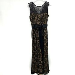 Dress Barn Collection Lace Evening Maxi Dress Black with Nude Underlay Size 12 $25.00