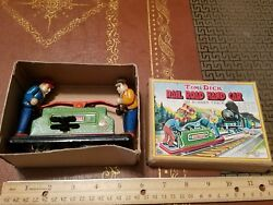 Vintage Tin Wind Up Rail Road Hand Car Made In Japan In Box Tin Toy Lot Exelo
