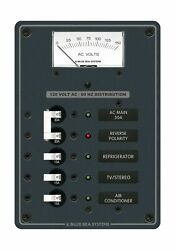 Blue Sea System Traditional Metal Panel Ac Main 3 Positions Ac Voltmeter Led New