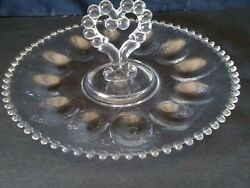 Vintage Imperial Glass Candlewick Deviled Egg Server Plate 11 1/2 Free Shipping