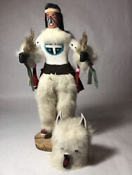 Andlsquo95 Wood Kachina Native Hopi Indian White Musk Wolf Doll Fur 13andrdquo Tall Signed