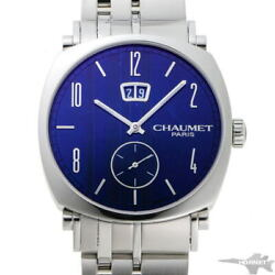 Chaumet Dandy Grand Date Automatic W11680-47c Blue Dial Ss Menand039s Watch