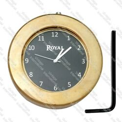 For Royal Enfield Royal Logo Black Dial Brass Handle T Nut Clock Watch @us