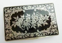 Austrian Sterling Silver Gilt And Black Enamel Compact/ Hinged Box
