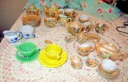 4 Vtg Sets Lustreware Doll Tea Set Dishes 2 Akro Agate Cups And Saucers