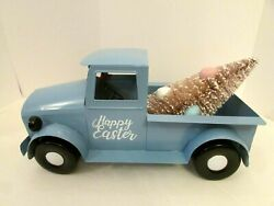 Easter Vintage Style Blue Metal Pick Up Truck Tree Farmhouse Holiday New