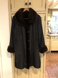 Dark Brown Sheared Mink Reversible Stroller Coat W/ Button Front Gorgeous Us12