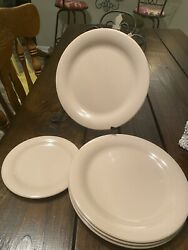 Vintage Tupperware Round Lunch Snack Plates Lot Of 6 Dusty Rose Pink Very Rare