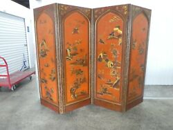1920's Hand Painted Chinoiserie Red Coromandel Folding Screen