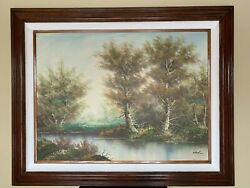 20th Century European School Wooded Landscape Oil On Canvas Signed 40 X 50