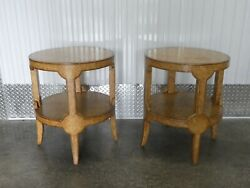 Vintage Chic Maitland Smith Round Embossed Ostrich Leather Side Tables