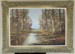 A Wooded Landscape Mountains Beyond Oil On Canvas 20th Century European School