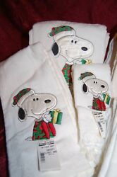 Christmas Holiday Snoopy Claus Bath Towel Set 3 Pc Embroid/applique Vintage New