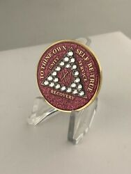 11 Year Pink Sparkle Bling Aa Medallion -- Alcoholics Anonymous Chip