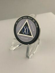 11 Year Blue And Black Responsibilty Aa Medallion -- Alcoholics Anonymous Chip