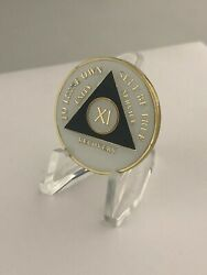11 Year Black Glow In The Dark Aa Medallion -- Alcoholics Anonymous Chip