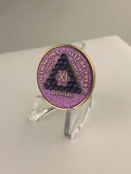 11 Year Purple Bling Sparkle Aa Medallion -- Alcoholics Anonymous Chip