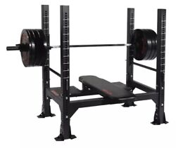Ethos Olympic Weight Bench With Bumper Plates And Olympic Bar