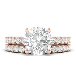 1.31ct D-vs2 Diamond Frsdch Pave Engagement Ring 18k Rose Gold Any Size