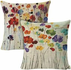 Decorative Throw Pillow Covers Set of 2 18 x 18 inch Oil Painting Flower