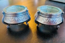 Pair Of Russian Vintage Silver Plated Caviar/salt/condiment Bowls With Glass Ins