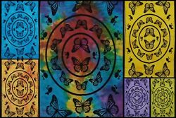 Butterfly Mandala Design Cotton Fabric Handmade Small Poster Tapestry Indian Art