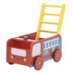 Labebe - 4 Wheels Walker For Baby, Red Push Wagon Cart For Kid, Push Toy Walker