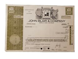 1981 John Blair And Company Stock Certificate Issued To Bird And Co.
