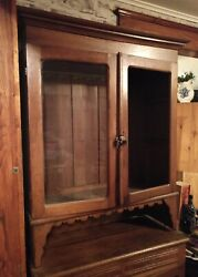 Antique And039marriedand039 Step Back Bakerand039s Cabinet Primitive Chestnut Cupboard Hutch