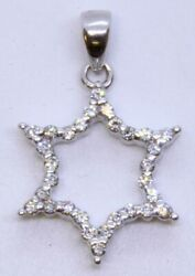 14k Solid White Gold Round Diamond Open 6-pointed Star Outline Pendant