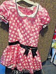Disneypink And White Polka Dot Minnie Mouse Dress Costumejuniors Largenwt