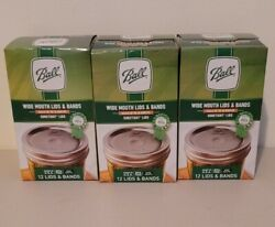Ball Wide Mouth Lids And Rings Bands For Mason Jar Canning Lot 3 Boxes New 36 Pc