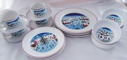 20pc Porcelain Dinnerware Set Villeroy And Boch Naif Christmas China Service For 4