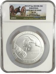 2015-p 25c Atb Quarter 5oz Silver Saratoga Ngc Sp70 First Day Of Issue