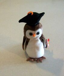 Ty Beanie Baby Original Wise The Graduation Owl Retired 1997 Pe Pellets New