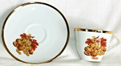 Tea Cup Saucer Fall Scene Grapes Nuts Leaves Gold Rims Bareuther Waldsassen Vtg