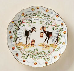 Anthropologie Inslee Fariss 12 Days Of Christmas Plate 8 Eight Maids Milking New