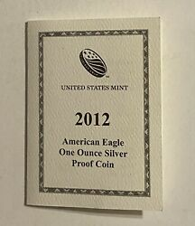 2012-w Proof Silver Eagle Box And Coa L@@k At Pictures