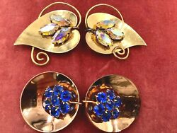 Vintage Coro Sign Sterling Silver Vermeil Fabulous 2 Sets Jewelry Lot Fur Clips