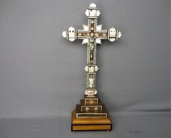 Vintage Standing Crucifix With Relics From The Cross Mother Of Pearl Wood Wow