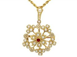 Ruby And Seed Pearl 15k Yellow Gold Pendant / Brooch Antique Circa 1920