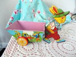 Vintage 1950and039s J Chein And Co. Easter Bunny Rabbit Pulling Cart Tin Litho Toy
